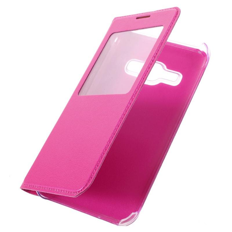 Чехол Samsung J120 / J1 2016 книжка с окном розовый