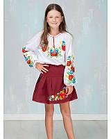 """Спідничка з вишивкою """"маки і волошки"""" (колір бордо, на 3-12 років)"""