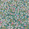 Ткань с мелкими голубыми и бирюзовыми цветочками на малахитовом фоне