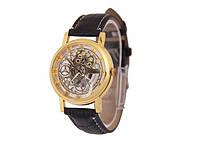 Часы наручные скелетоны с черным ремешком код 157