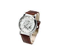 Часы наручные скелетоны с коричневым ремешком код 157