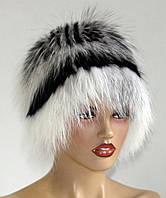 Меховая шапка из лисы Кубанка (двухъярусная) бело-черная.