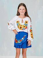"""Спідничка з вишивкою """"маки і волошки"""" плісе (колір синій, на 3-12 років)"""