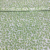 Ткань с мелкой салатовой веточкой, ширина 145 см, фото 1