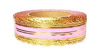Лента коронка флористическая светло-розовая 4 см х 25 ярдов