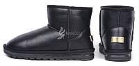 Угги мужские UGG Australia черные кожаные низкие, Черный, 43