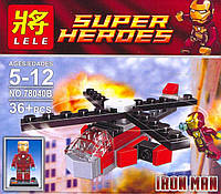 Конструктор Lele Super Heroes аналог (LEGO Super Heroes) Железный человек с вертолетом