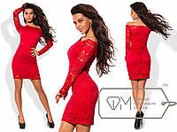 Красное сексуальное платье со спущенными плечами