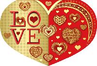 "Двойная валентинка в форме сердца "" Love """