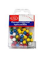 """Кнопка декоративная """"Шарик"""" 60 штук цветные в пластиковом боксе"""