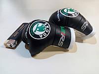 Перчатки боксерские мини сувенир подвеска в авто черные SKODA