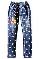 Лосины утепленные мехом, имитация джинса; 104 размер, фото 1