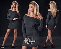 Теплое платье спущенное на одно плече черный