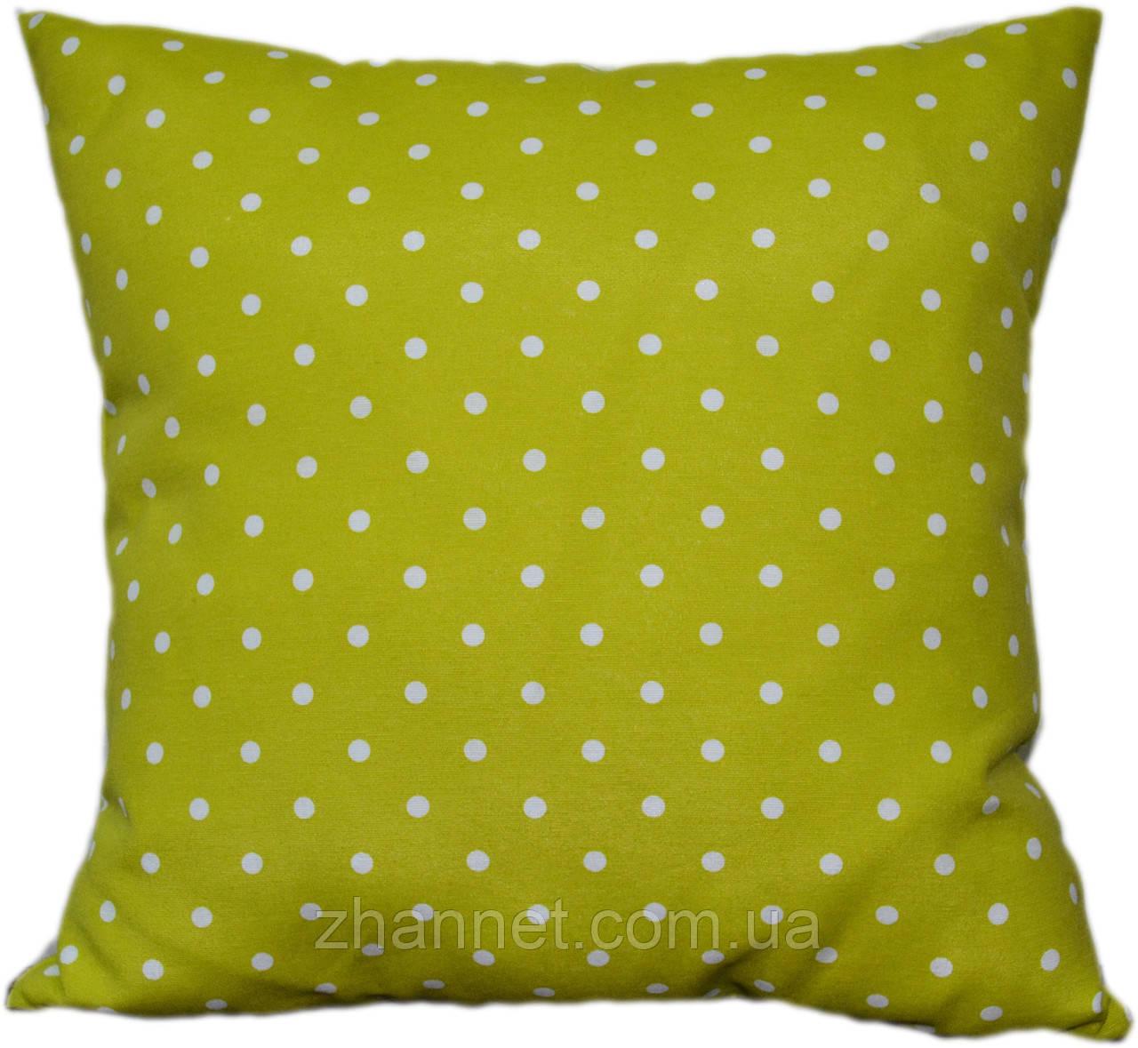 Декоративная подушка  Горох оливка