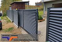 Забор из горизонтальных жалюзи 0,5 мм с полимерным покрытием