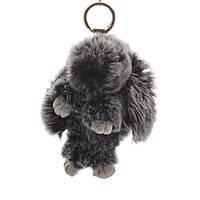 Брелок на сумку Кролик  серый меланж (р-р 15 см без крепления) нат. мех кольцо-карабин