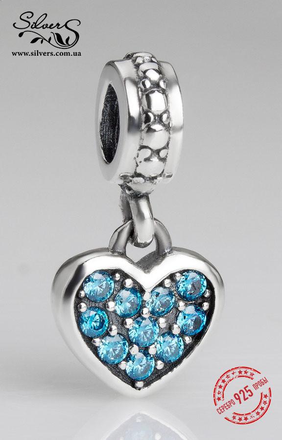 """Серебряная подвеска шарм Пандора """"Голубое висящее сердечко"""""""