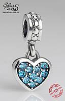 """Серебряная подвеска-шарм Пандора (Pandora) """"Голубое висящее сердечко"""" для браслета"""