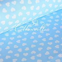 Польская бязь мелкие сердечки на голубом ( остаток 2,30 м)