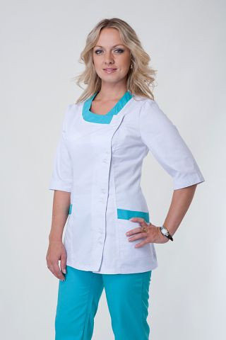 Медицинский костюм на пуговицах белый верх, зеленый низ