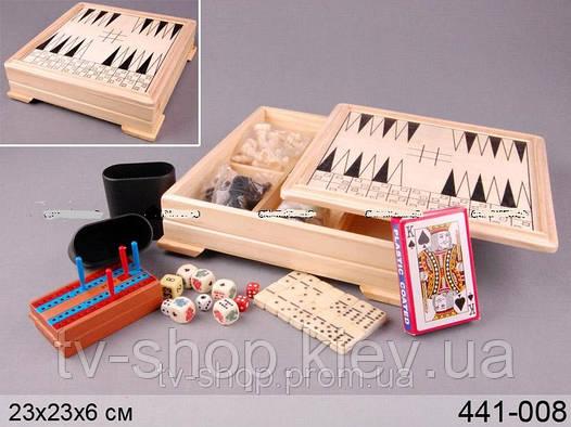 Игровой набор в деревянной шкатулке 7 в 1