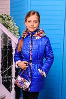 Куртка детская Весенняя «Цветы-3», сумочка в комплекте, 120-140 рост