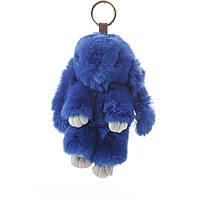 Брелок на сумку Кролик светло синий  (р-р 18 см без крепления) нат. мех кольцо-карабин