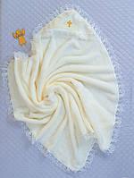 Махровая крестильная пеленка-уголок