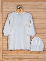 Крестильная рубашка с кружевом + шапочка