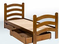 Кровать одноярусная с фигурными  спинками 1900*800 бук с ящиками Крихитка