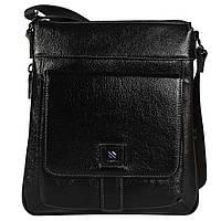 Качественная повседневная мужская кожаная сумка через плечо черная HT7882-3
