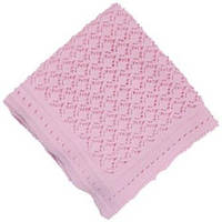 В'язаний плед для новонародженого, колір рожевий, фото 1