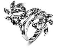 Кольцо с кристаллами покрытие серебро р 16 18 19 код 1031