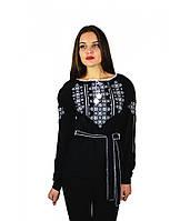 """Вышитая женская рубашка черная """"Васильки"""" М-225-1, фото 1"""