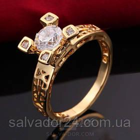 """Женское кольцо """"Эйфелева башня"""" 18К позолота, фианиты, 18 размер"""