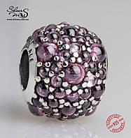 """Серебряная подвеска-шарм Пандора (Pandora) """"Розовые мерцающие капли"""" для браслета"""