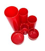 Подставка под канцелярию Economix Е32201-03 Цилиндры красная