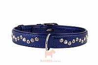 Ошейник Brilliance со стразами премиум класса Зиг Заг (35 мм х 46-60 см) (Коллар) Collar (синий)