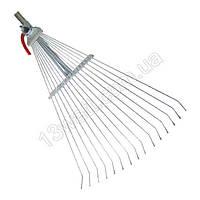 Грабли веерные 15 прутьев, металлическая рукоятка FT-3004