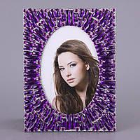 """Фоторамка настольная для фотографии 10х15 см. """"Аметисты"""" стеклянная со стразами, фиолетовая"""