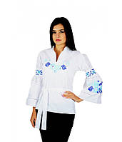 Вышитая женская рубашка белая «Голубые розы» М-220-5, фото 1
