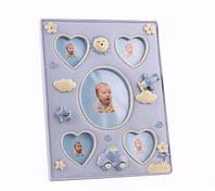 """Фоторамка детская настольная для 5-и фотографий 20х25 см. """"Baby сердце"""" полистоуновая, голубая"""