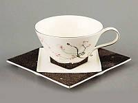 """Чайный набор на 1 персону, 2 пр. """"Сакура на черном"""""""