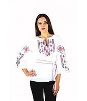 Вышитая женская рубашка с красной вышивкой «Традиция» M-211-5, фото 1