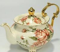 """Чайник заварочный 800 мл. фарфоровый """"Три розы"""" бежевый"""