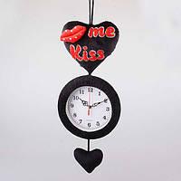"""Часы настенные 50 см. """"Плюшевое сердце Me kiss"""" тканевые, черные"""