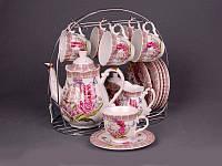 """Чайный набор на металлической подставке на 6 персон, 16 пр. """"Цветочный"""""""