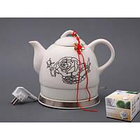 """Электрический чайник с керамическим корпусом """"Розы"""" 1,2 л."""
