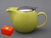 """Чайник заварочный с ситом 600 мл. керамический """"Tea"""" зеленый"""