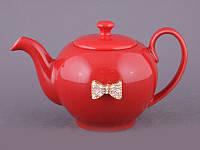 """Чайник заварочный 600 мл. керамический """"Бантик"""" красный"""